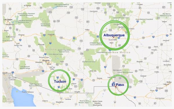 Tucson Albuquerque El Paso Map