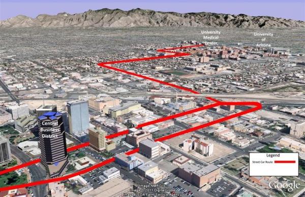 Tucson modern streetcar route
