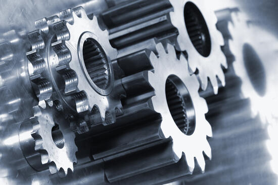 Industrial gears turning
